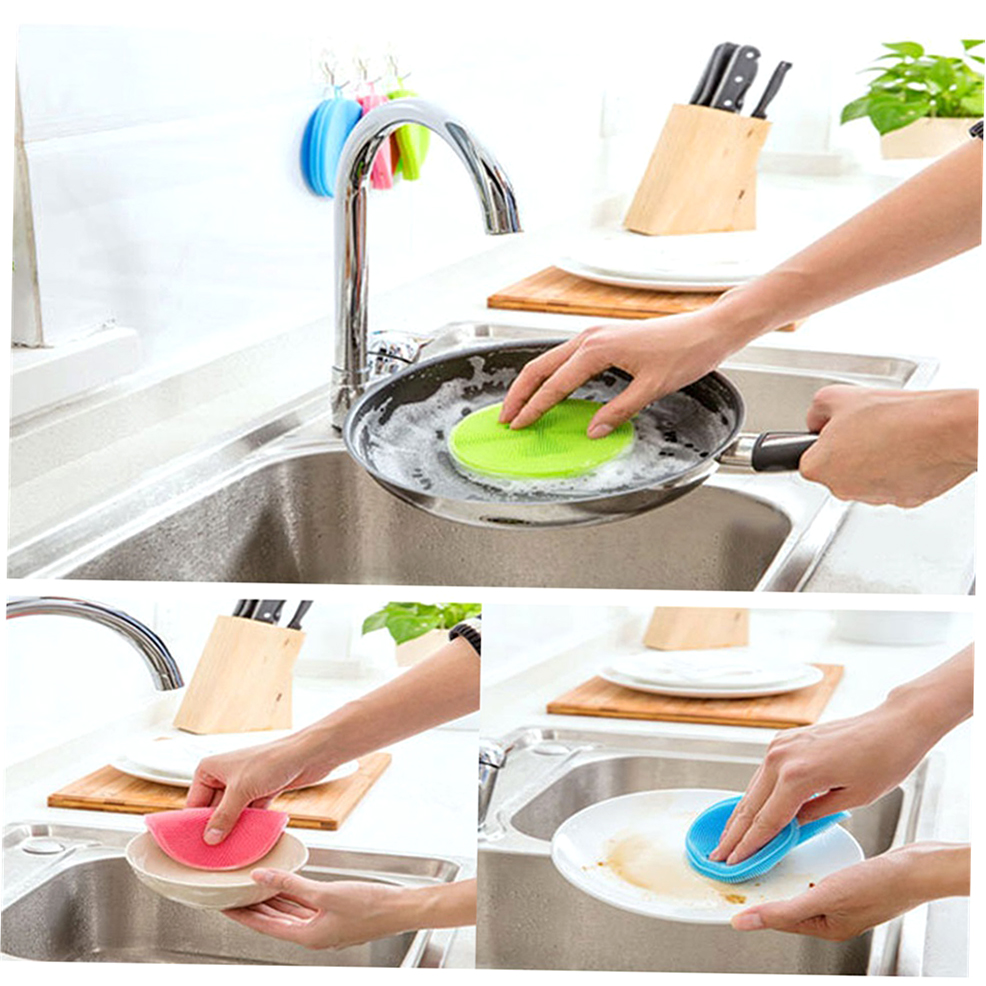 Silicone dish washing sponge scrubbers practical washing kitchen tools mc ebay - Seven different uses of the kitchen sponge ...