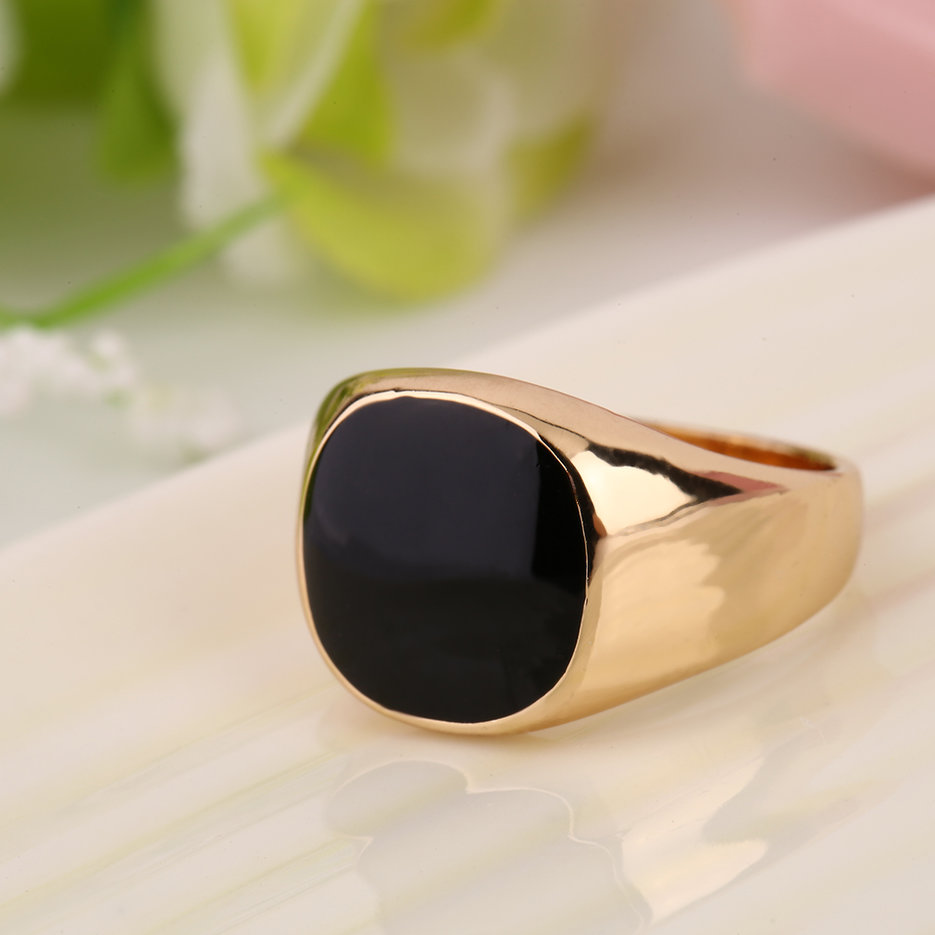 Steel Metal Ring 18K Gold Plated Black yx Stone Engagement Wedding X