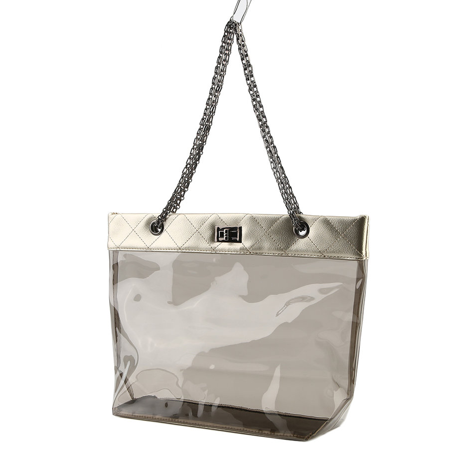 Womens Jelly Clear Transparent Tote Pu Leather Chain Bag