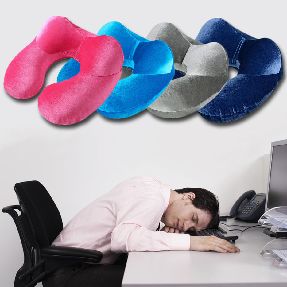New U Shape Travel Pillow For Airplane Inflatable Neck