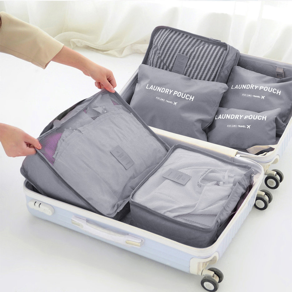 6 Pcs/Set Square Travel Luggage Storage Bags Clothes Organizer ...