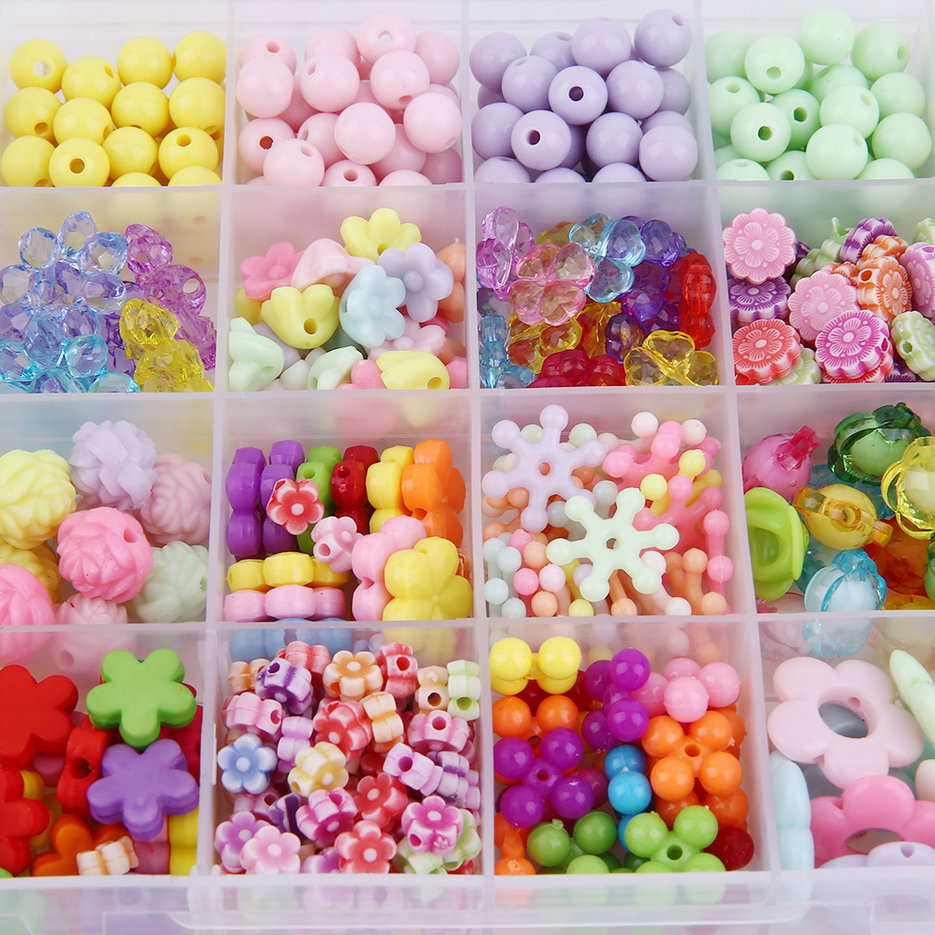 Creative Beads: Creative Children 24 Grids Candy Colors DIY Wear Beads