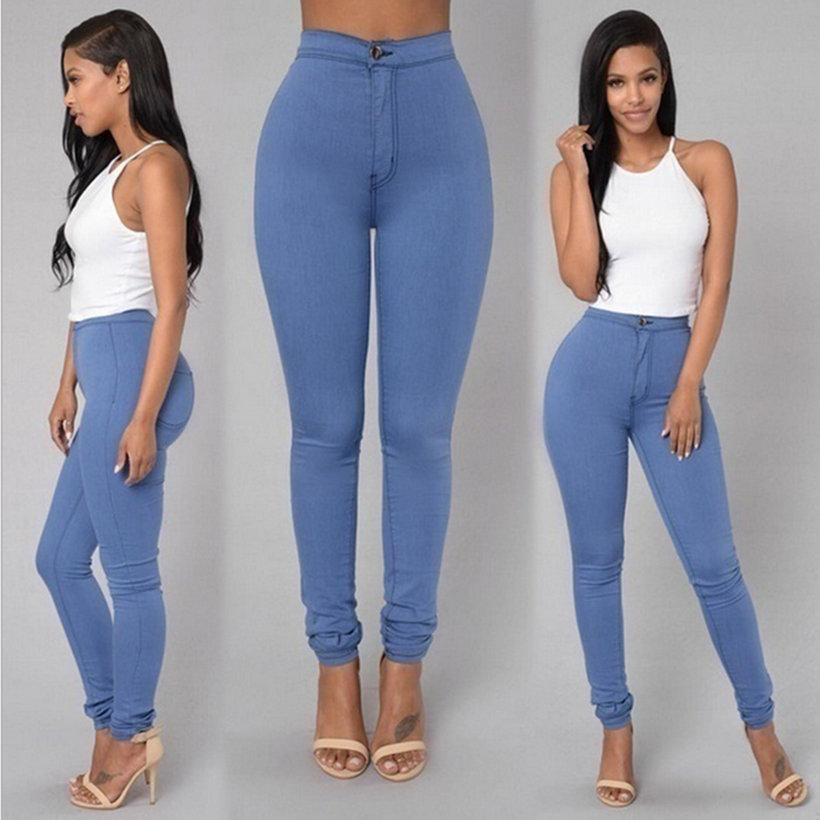 3 Colors Womens Slim Casual Narrow Feet Jeans Vintage High Waist ...