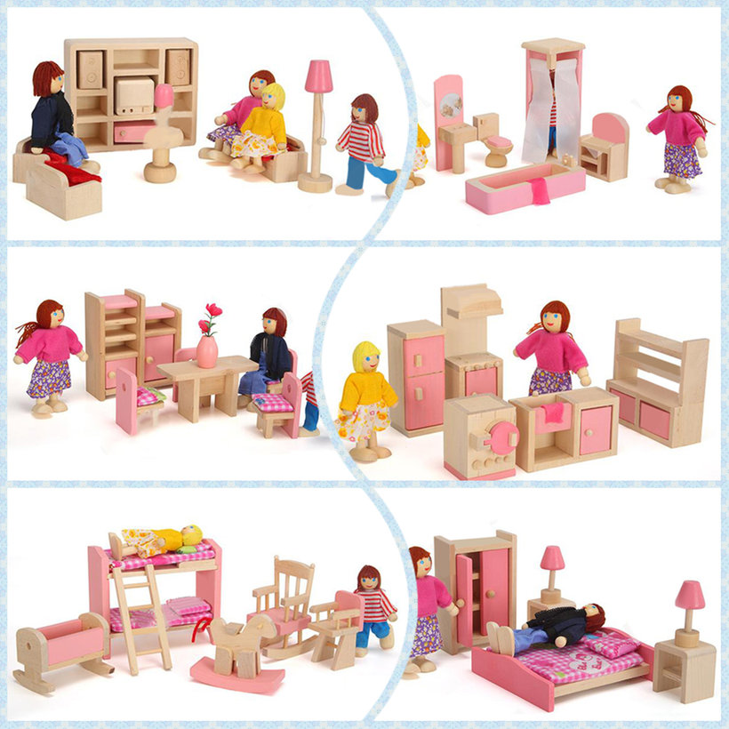 New Wooden Furniture Dolls House Miniature  Room Type Learn Toys - Type of house for kids