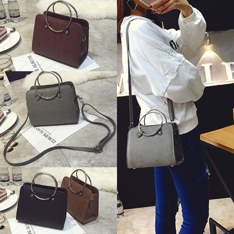 New Women Girls Round Ring Handbag Vintage Single Shoulder Bag ...