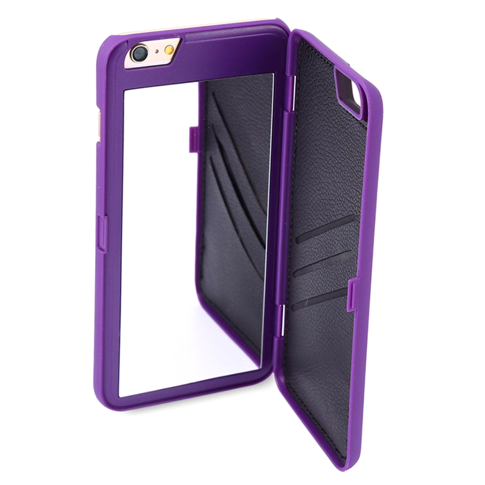 Creative for iphone mobile phone wallet mirror shell for Phone mirror