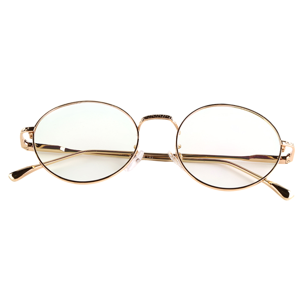 Vintage eyeglasses metal round frame green film plain