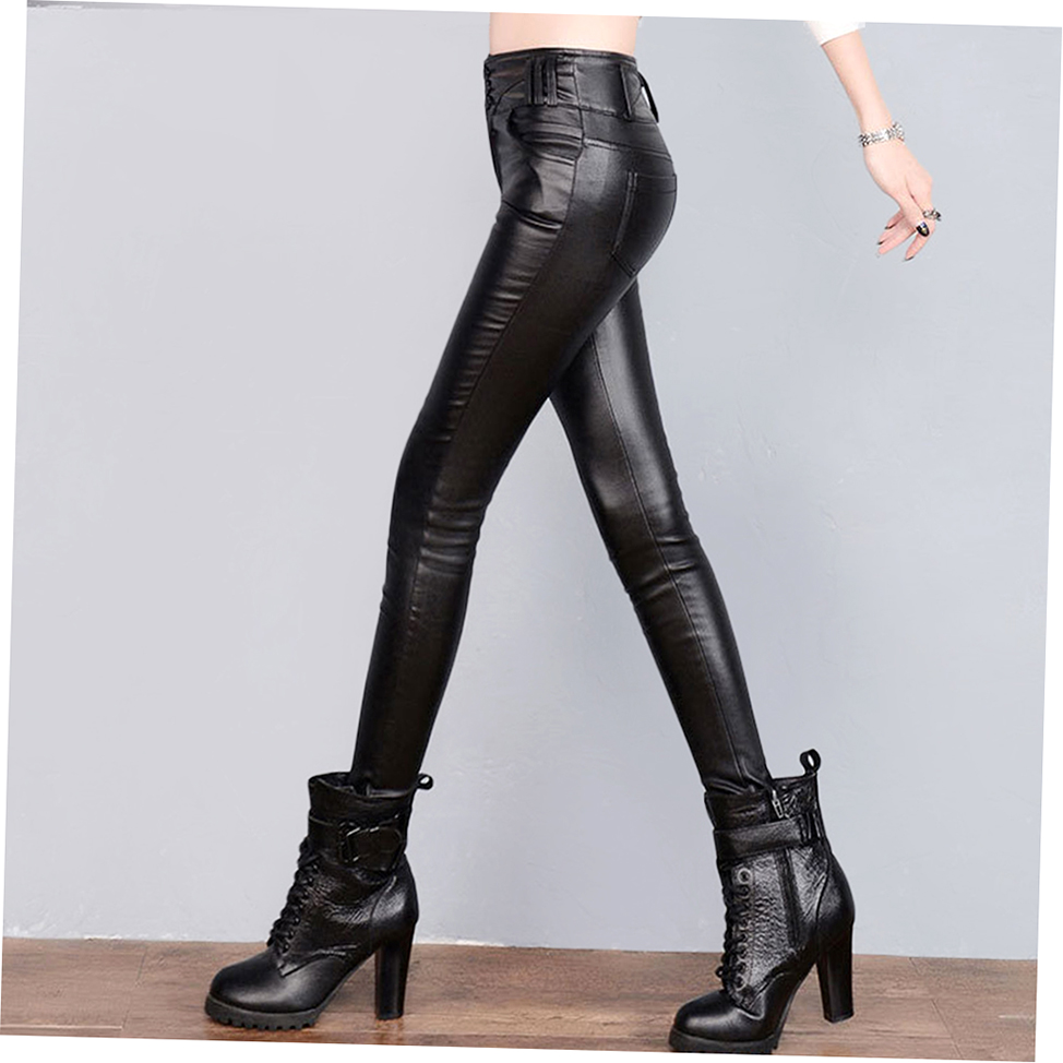 Innovative Womens Winter Slim Thick Tight Fleece Faux Leather Pants Thermal
