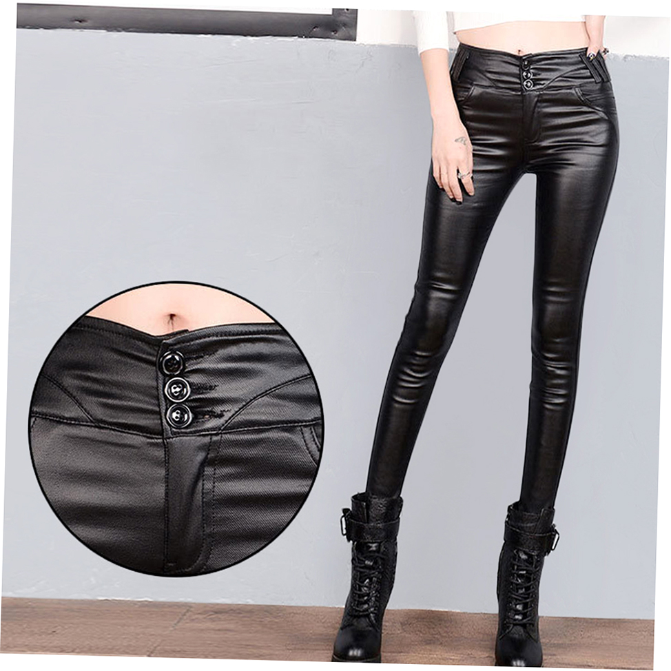 Stylish PU Leather Women Pants Tight Waist Slim Was Lanky ...