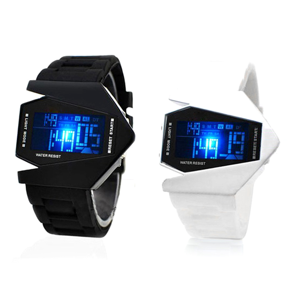 new cool mens oversized light digital sports quartz rubber
