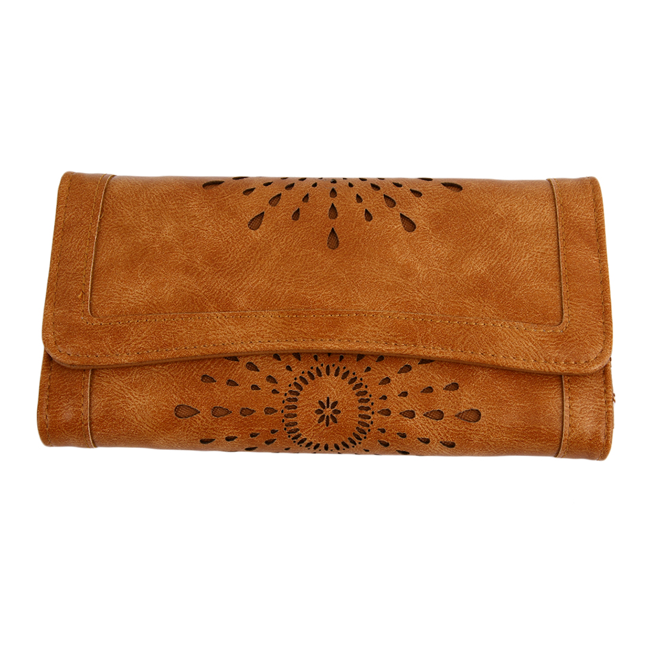 Stylish vintage women pu leather clutch purse carved