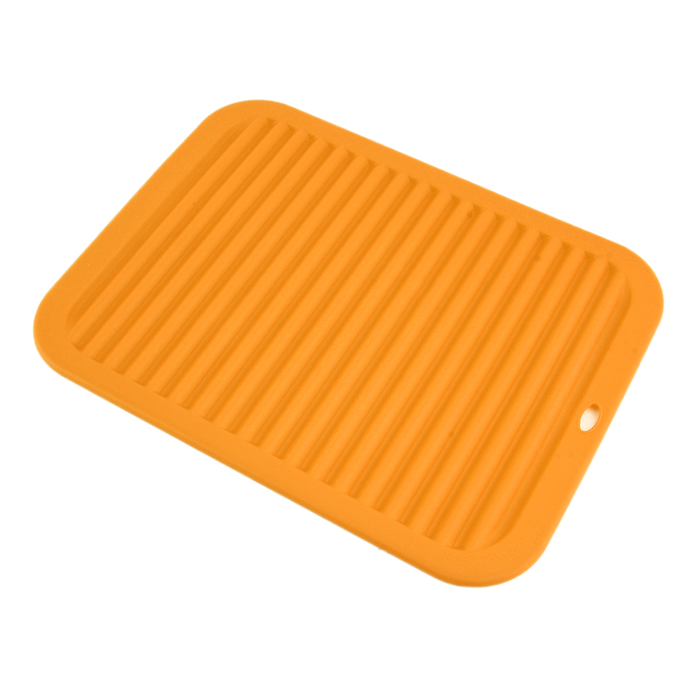 Kitchen Durable Rectangle Silicone Dish Drying Mat Pad