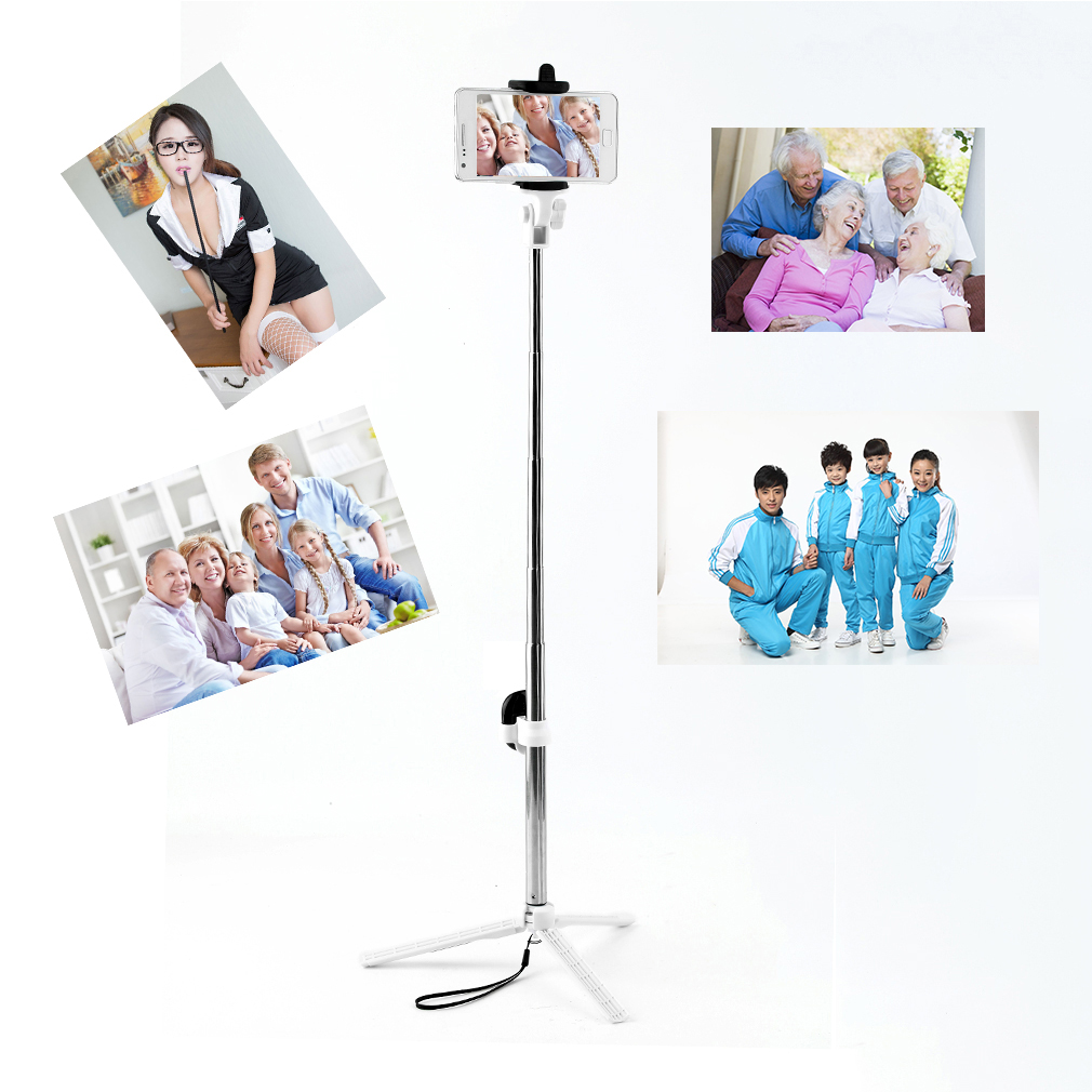 stainless steel bluetooth cell phone selfie stick monopod tripod for iphone jk. Black Bedroom Furniture Sets. Home Design Ideas