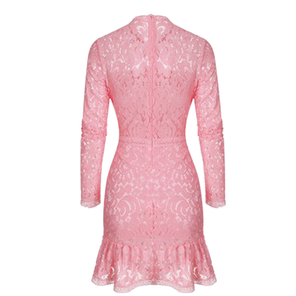 Women Long Sleeve Polo Neck Lace Dress Ladies Cocktail