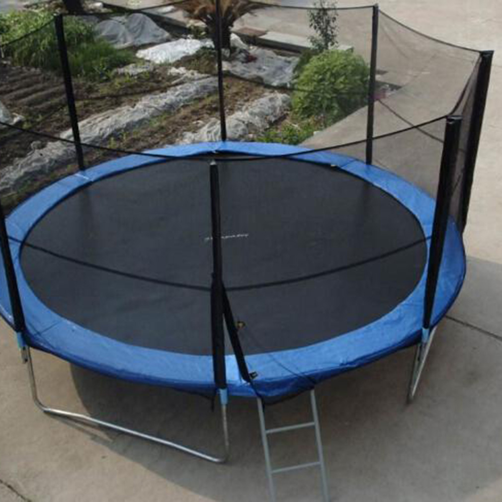 Light Pole Jumps: Trampoline With Safety Enclosure Padding And Ladder Round