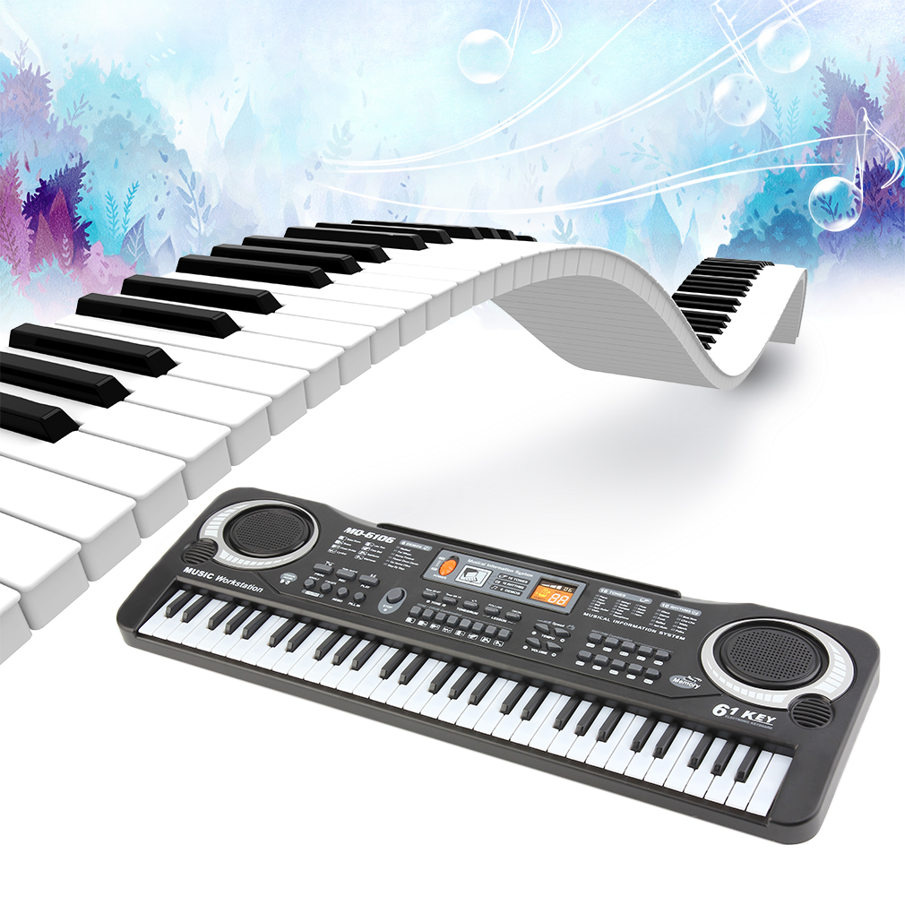 new 61 keys electronic piano electric organ keyboard black 8 percussions w stand. Black Bedroom Furniture Sets. Home Design Ideas