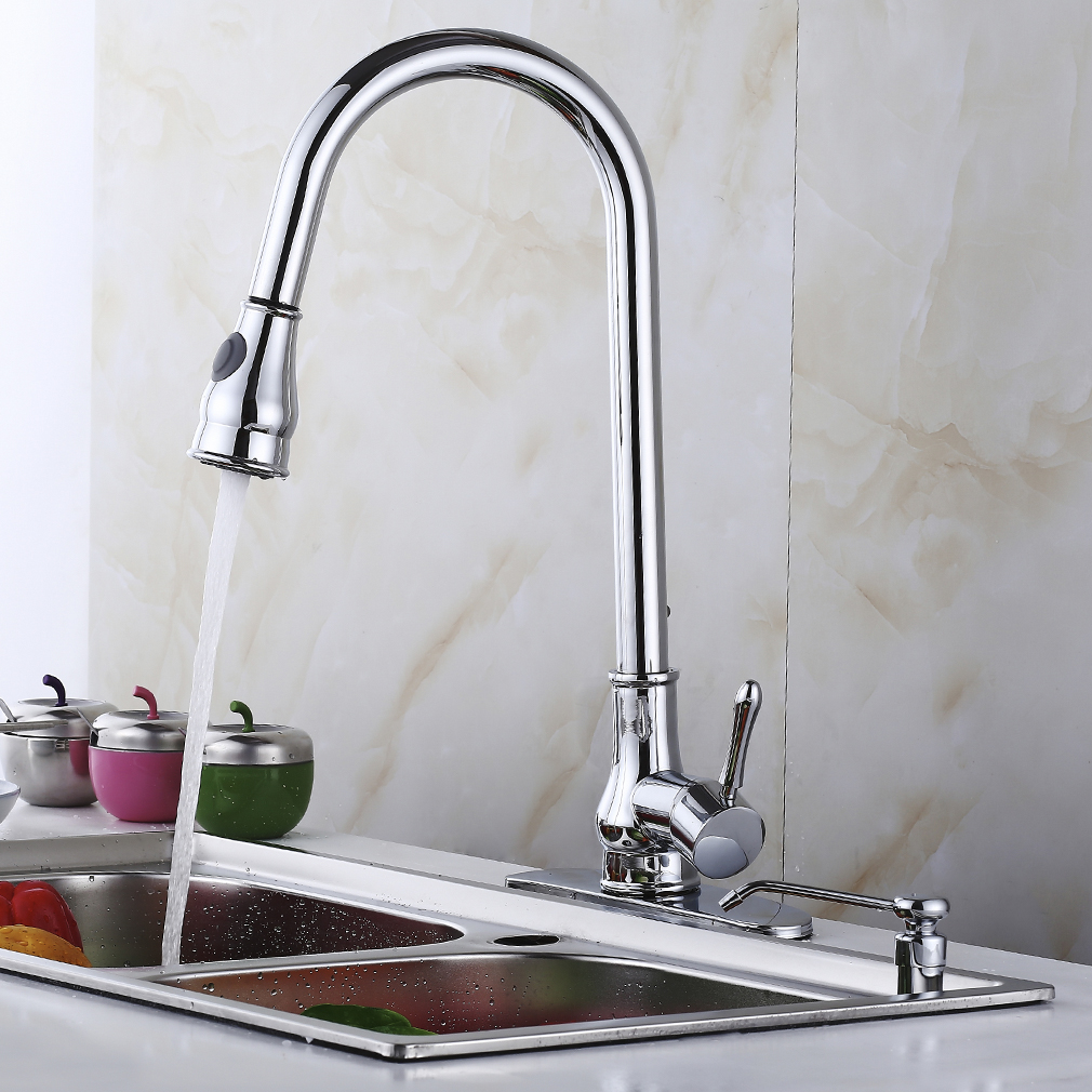 16 18 pull down kitchen sink faucet w soap dispenser cover wp ebay. Black Bedroom Furniture Sets. Home Design Ideas