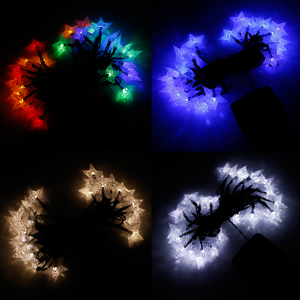 String Of Led Star Lights : LED Star Lights String Outdoor Lights Solar String Large Star Shaped Covers PB eBay