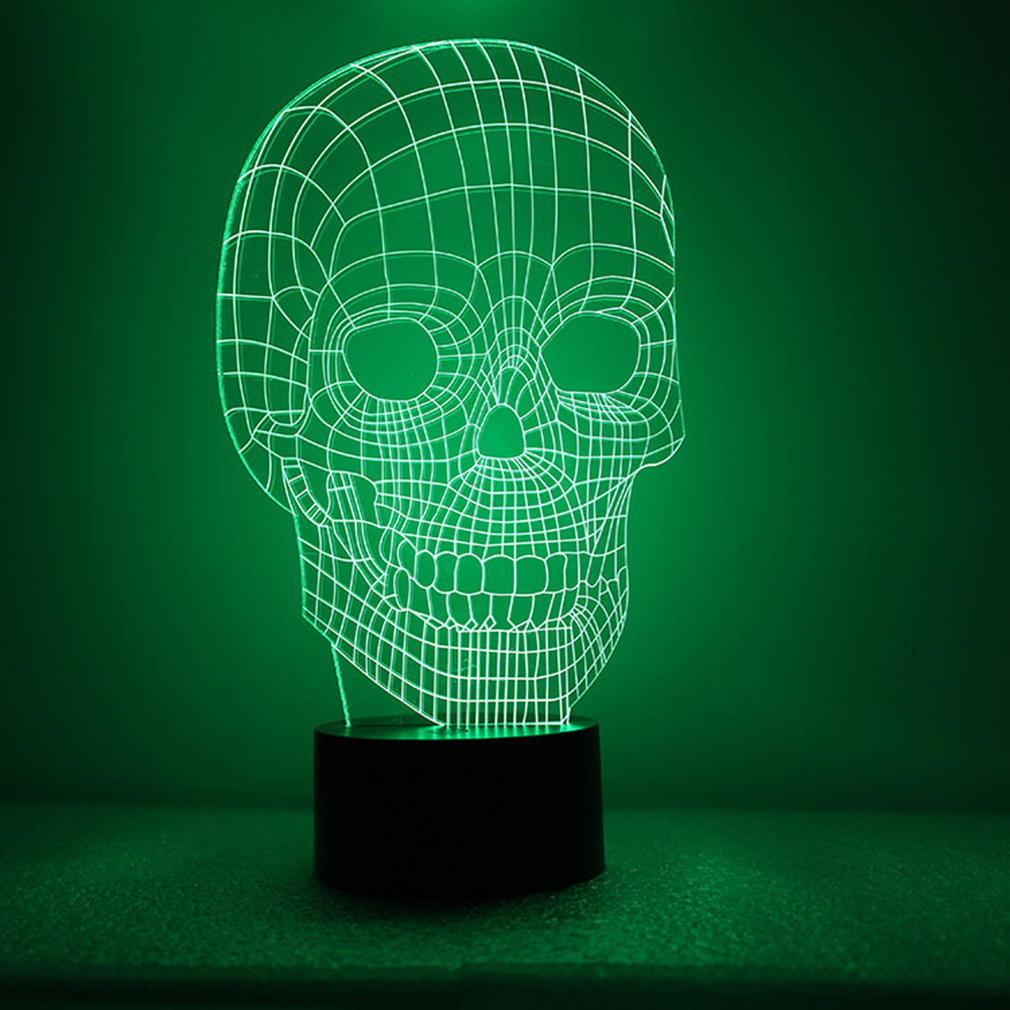 3d Illusion Bulbing Skull Lamp Acrylic Led Night Light