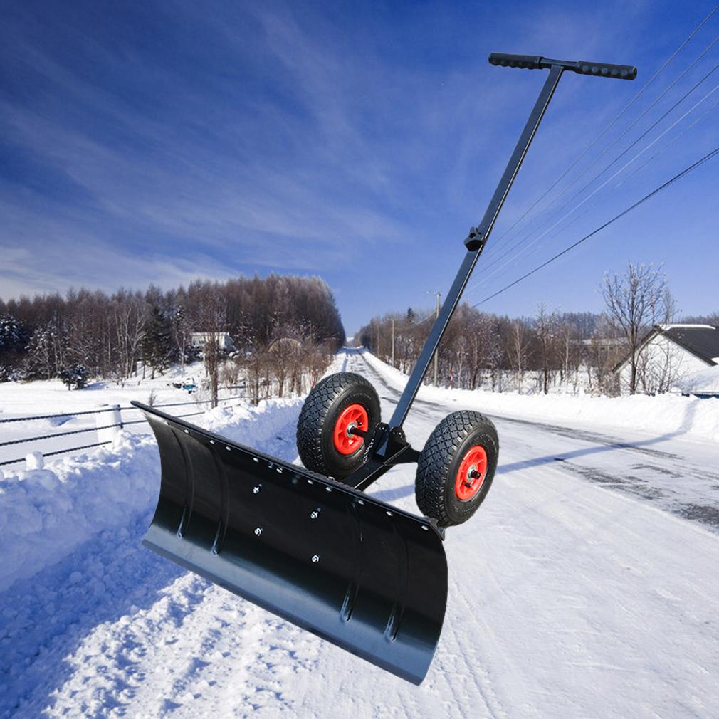 schneeschieber schneeschaufel schneeschild schneeplfug mit r dern rollen se ebay. Black Bedroom Furniture Sets. Home Design Ideas