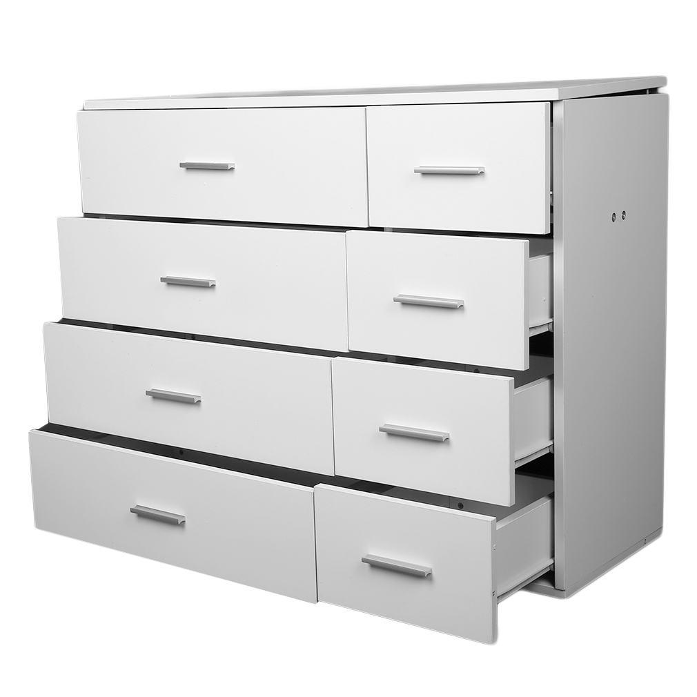 Wide chest of 4 4 drawers bedroom furniture 8 drawers cabinet white 100 new h ebay for White bedroom chest of drawers