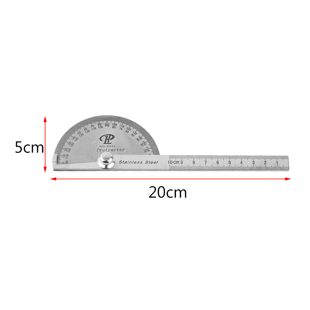 Stainless Steel Protractor 180 Degree Rotation Angle Ruler Mea