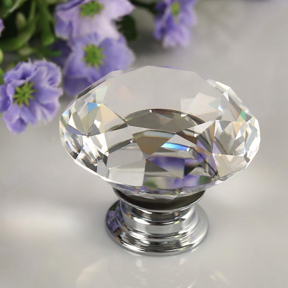 30 40mm round diamond clear crystal glass door pull drawer - Tiradores decorativos ...