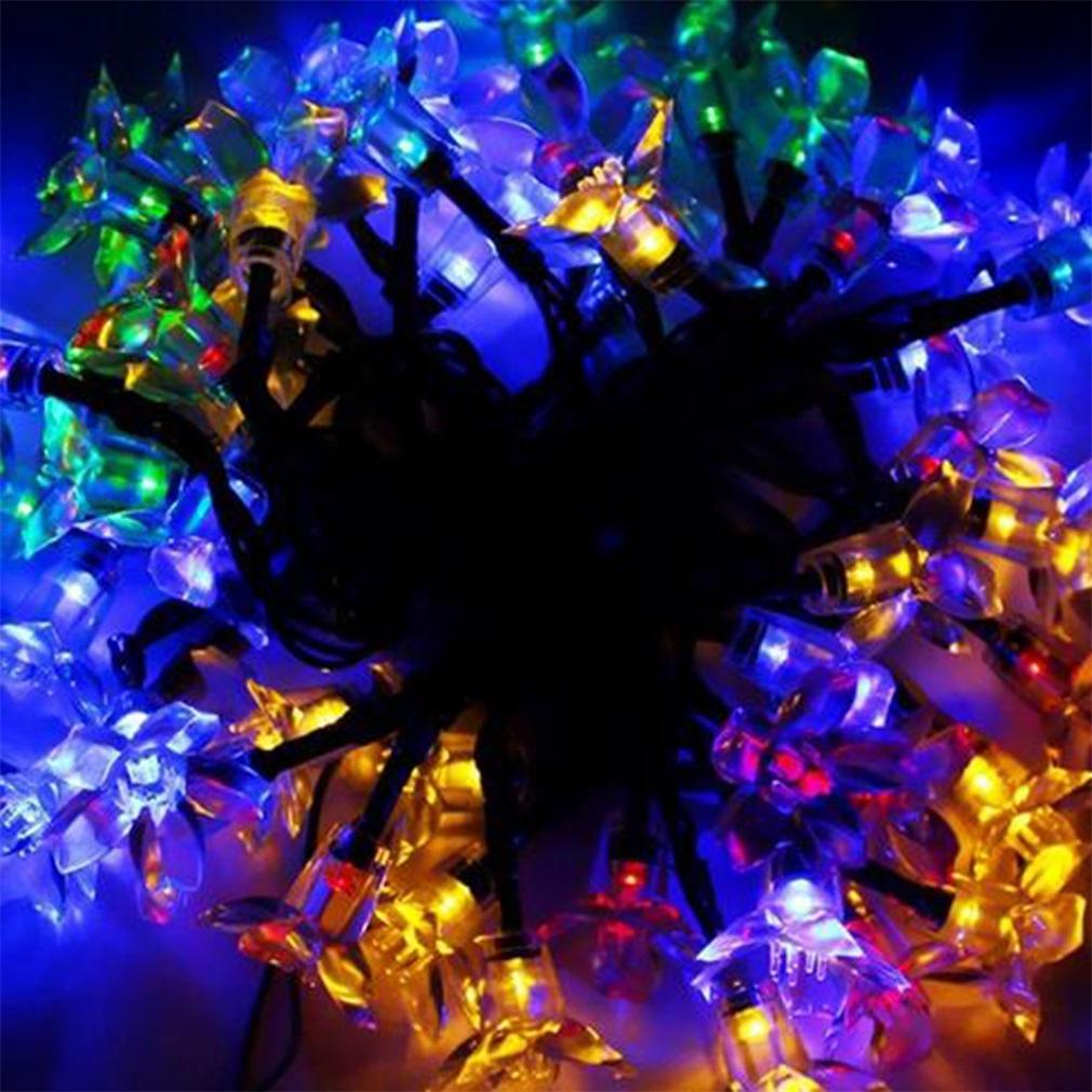 Flower String Lights Outdoor : 50 LED Blossom Flower Solar Powered Garden Fairy String Lights Outdoor Lamp MR eBay