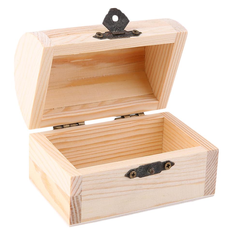 Wooden ingots plain wood jewelry box case art decor diy for Diy decorative wood boxes