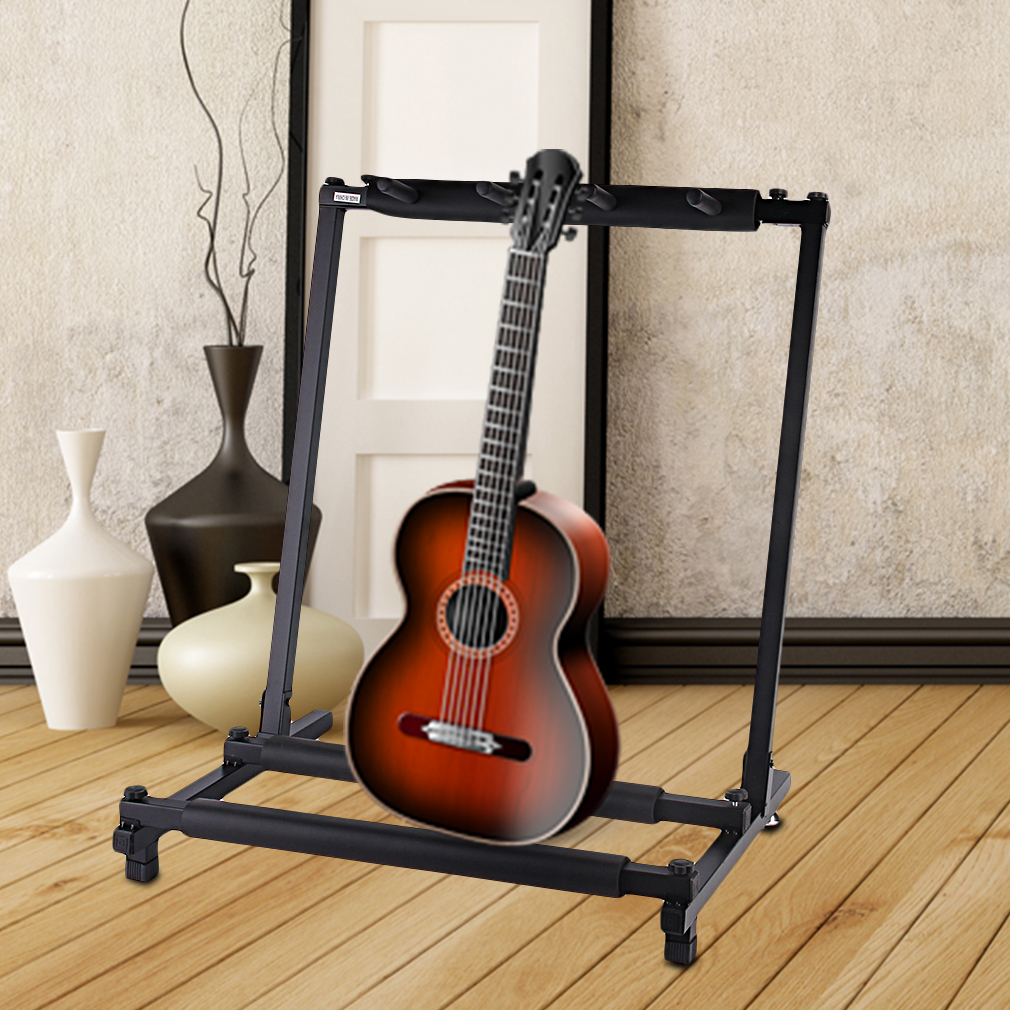 3 5 7 9 triple five seven multiple guitar bass stand holder stage folding rack ebay. Black Bedroom Furniture Sets. Home Design Ideas