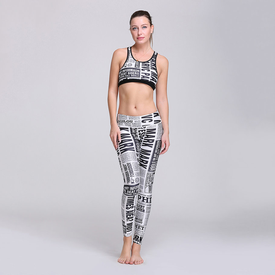 8976-Modern-3D-Printing-Newspaper-Letter-Cotton-Elastic-Breathable-Yoga-Set-DE