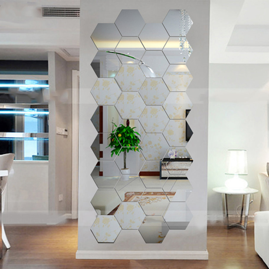 Hexagonal 3d mirrors wall stickers home decor living room - Wall sticker ideas for living room ...