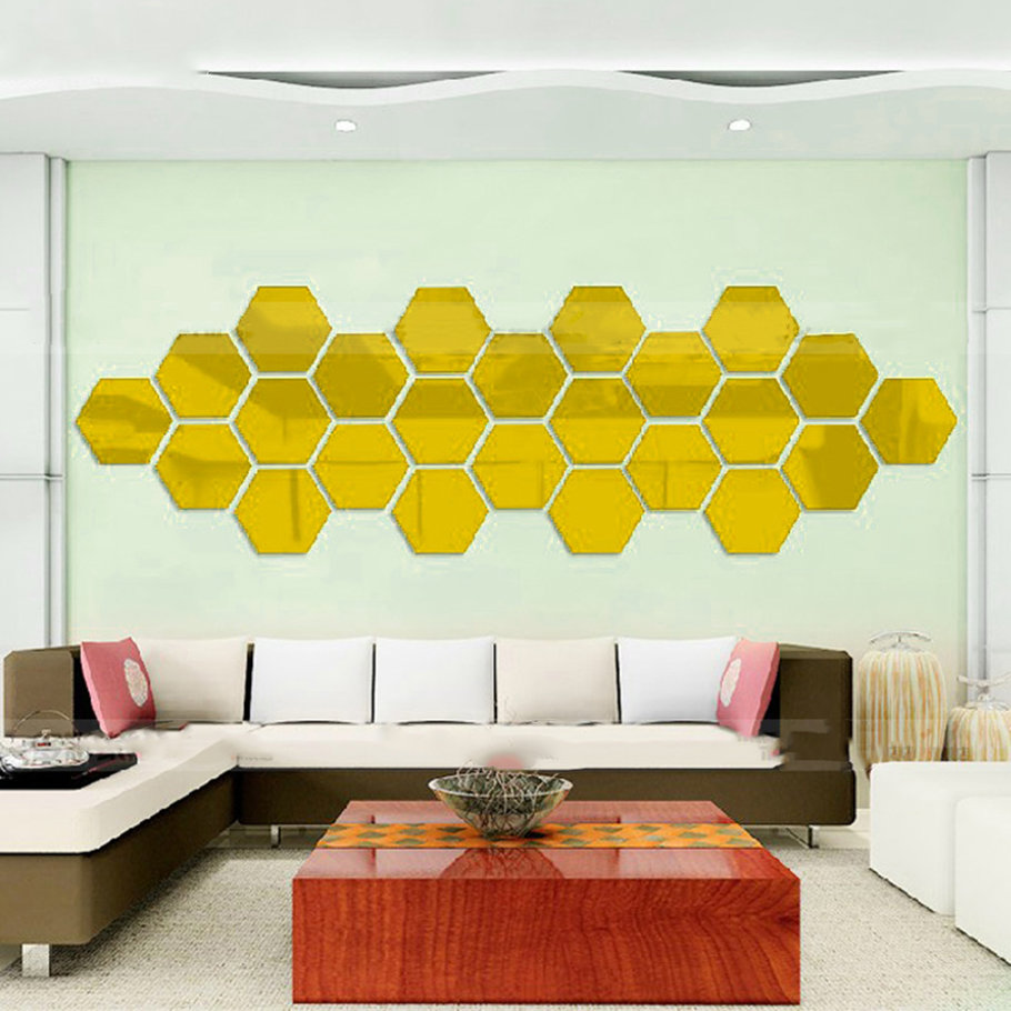 Hexagonal 3d mirrors wall stickers home decor living room for Home decor 3d stickers