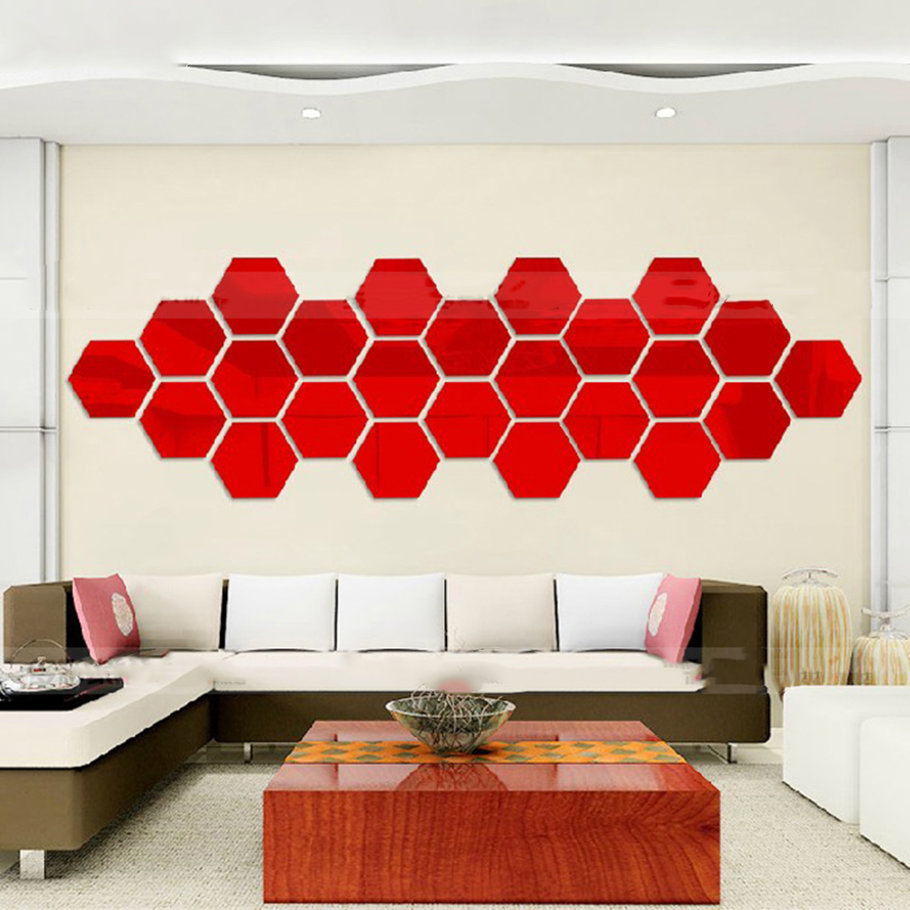 Hexagonal 3d mirrors wall stickers home decor living room mirror wall sticker le - Wall decor mirror home accents ...