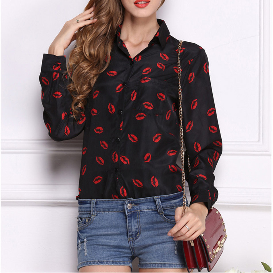 Long Sleeve Blouse Casual Tops Women Ladies Chiffon T Shirt Floral Print KE | eBay