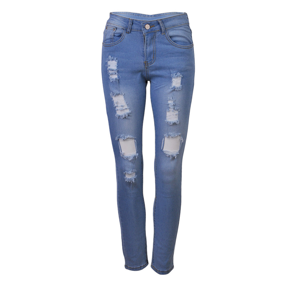 occident sexy pencil ripped holes slender tight pants