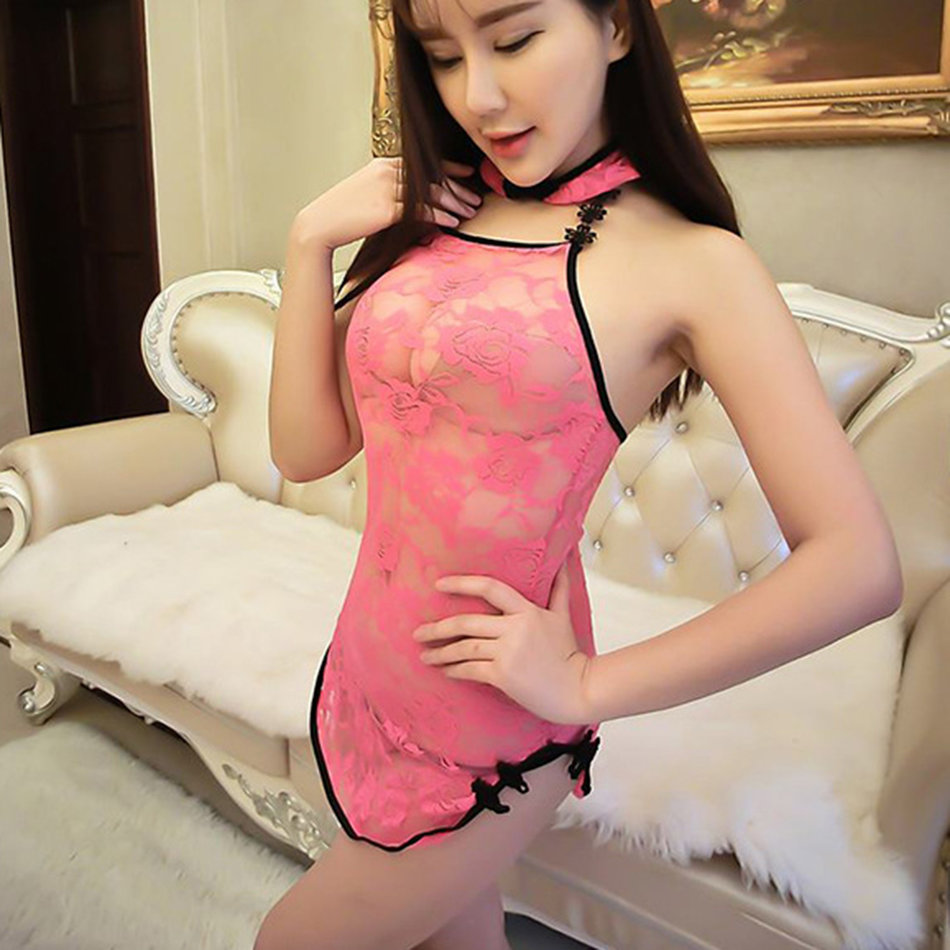Classic Lace Sexy Chinese Perspective Cheongsam Sexy Lingerie ...
