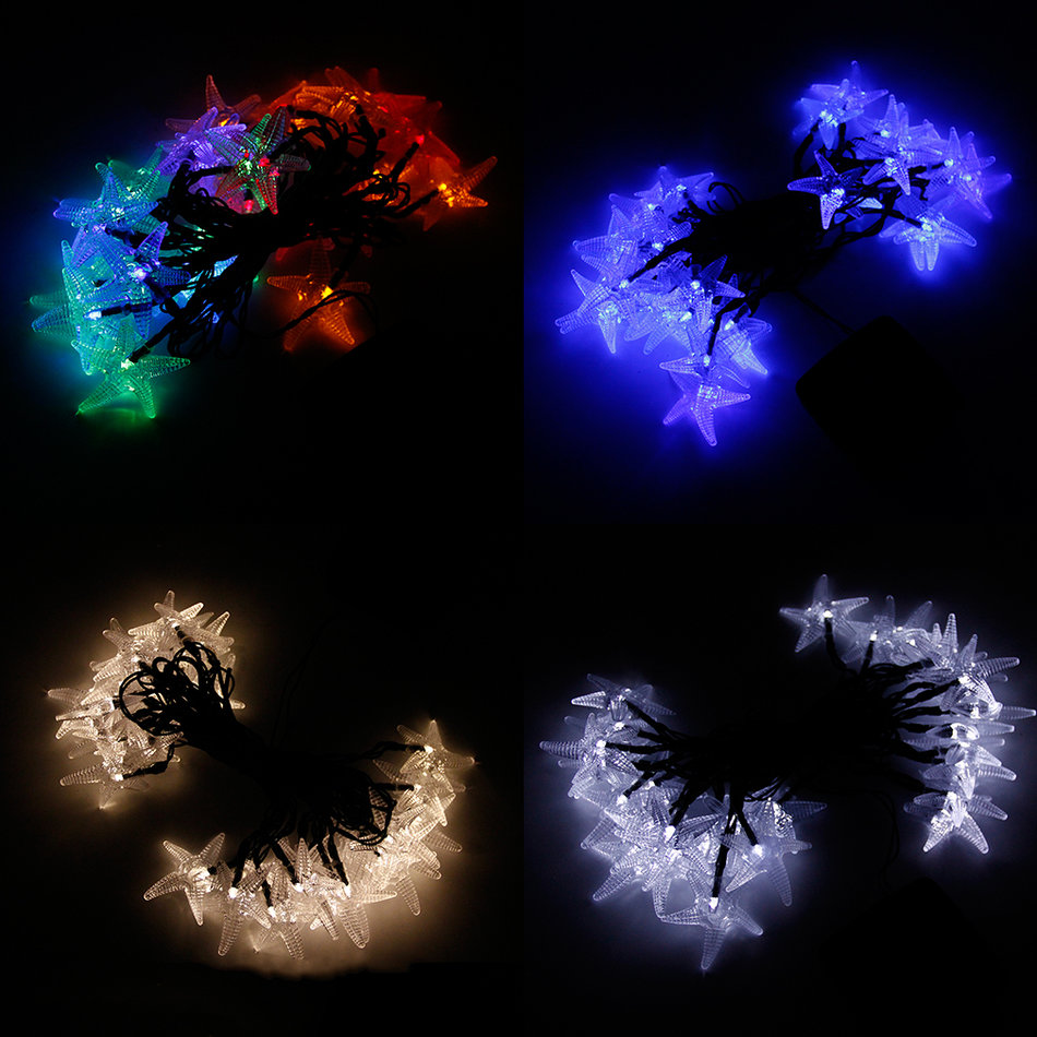 String Lights With Covers : LED Lights String Outdoor Lights Solar String Large Starfish Shaped Covers KE eBay