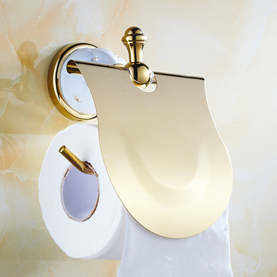 Luxury Toilet Paper Holder Solid Brass Golden Finished Bathroom Accessories Bk