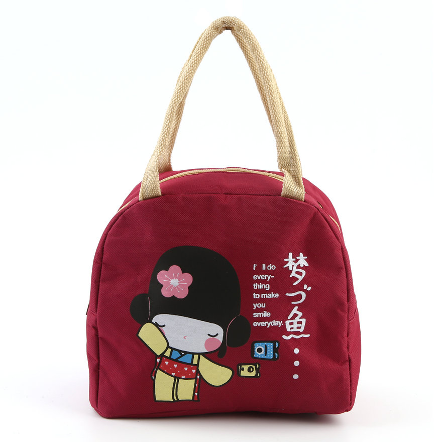 portable japanese girl bento lunch boxes large bag insulation storage bag mc. Black Bedroom Furniture Sets. Home Design Ideas