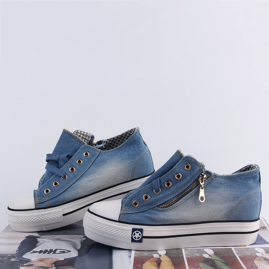 Women's Low Top Washed Denim Casual Lace Up Sneakers Round Toe Canvas Shoes Bt15