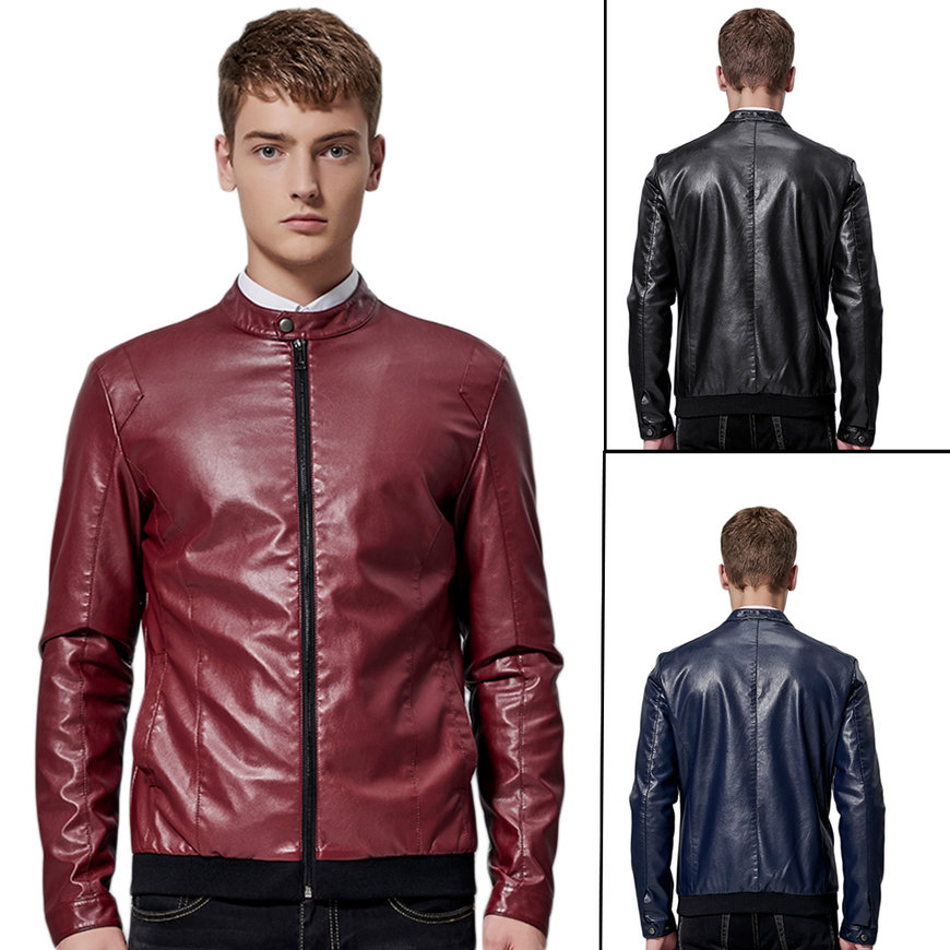 PU Leather Round Collar Men Coats Casual Type Men Jacket ...