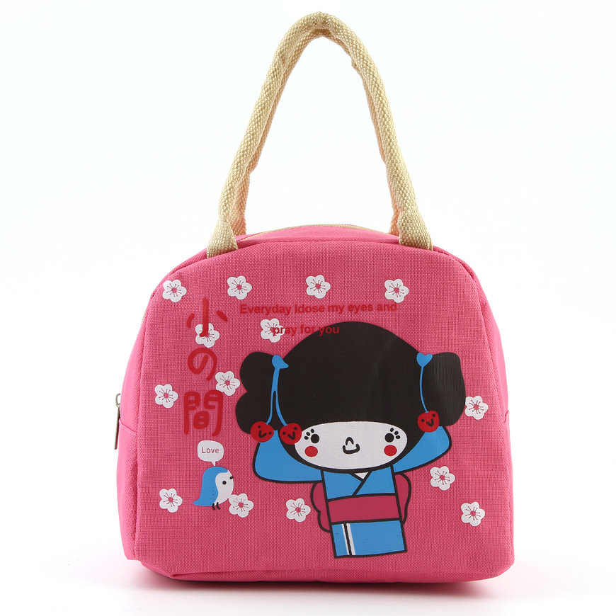 portable japanese girl bento lunch boxes large bag. Black Bedroom Furniture Sets. Home Design Ideas