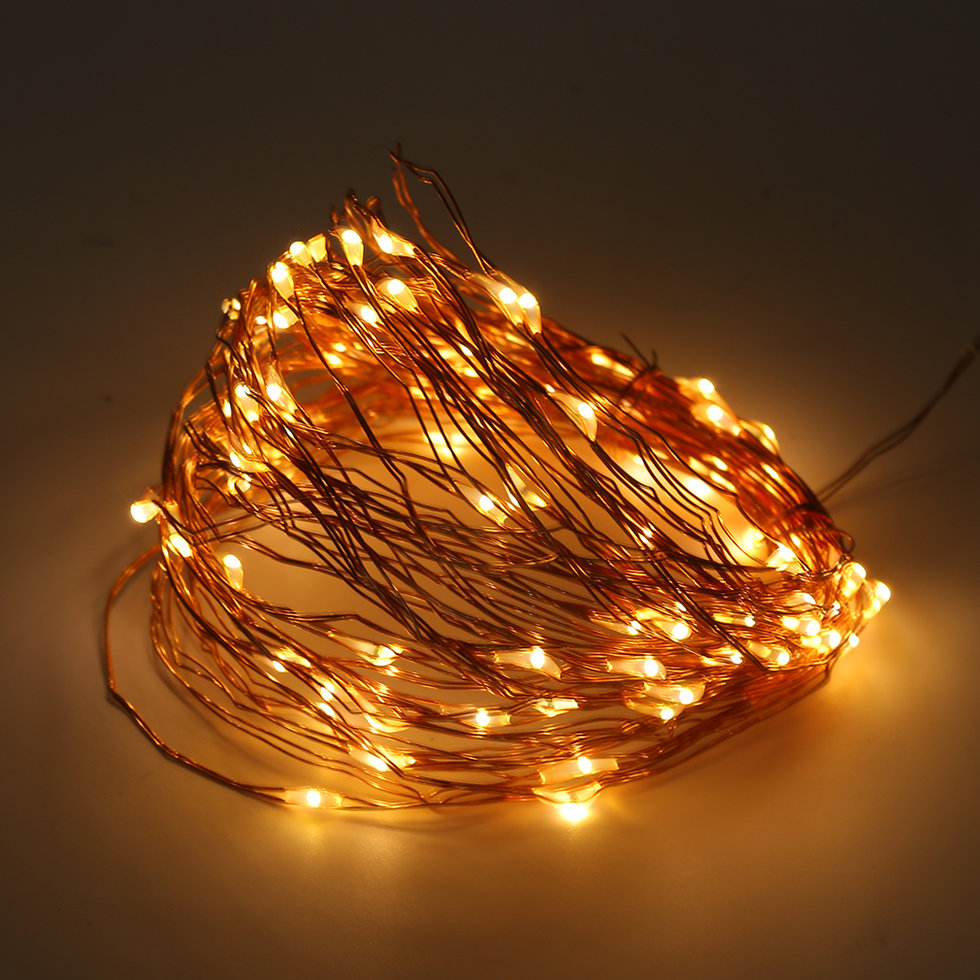 Outdoor String Lights Guide Wire: Solar Powered Warm White 10M 100LED Copper Wire Outdoor