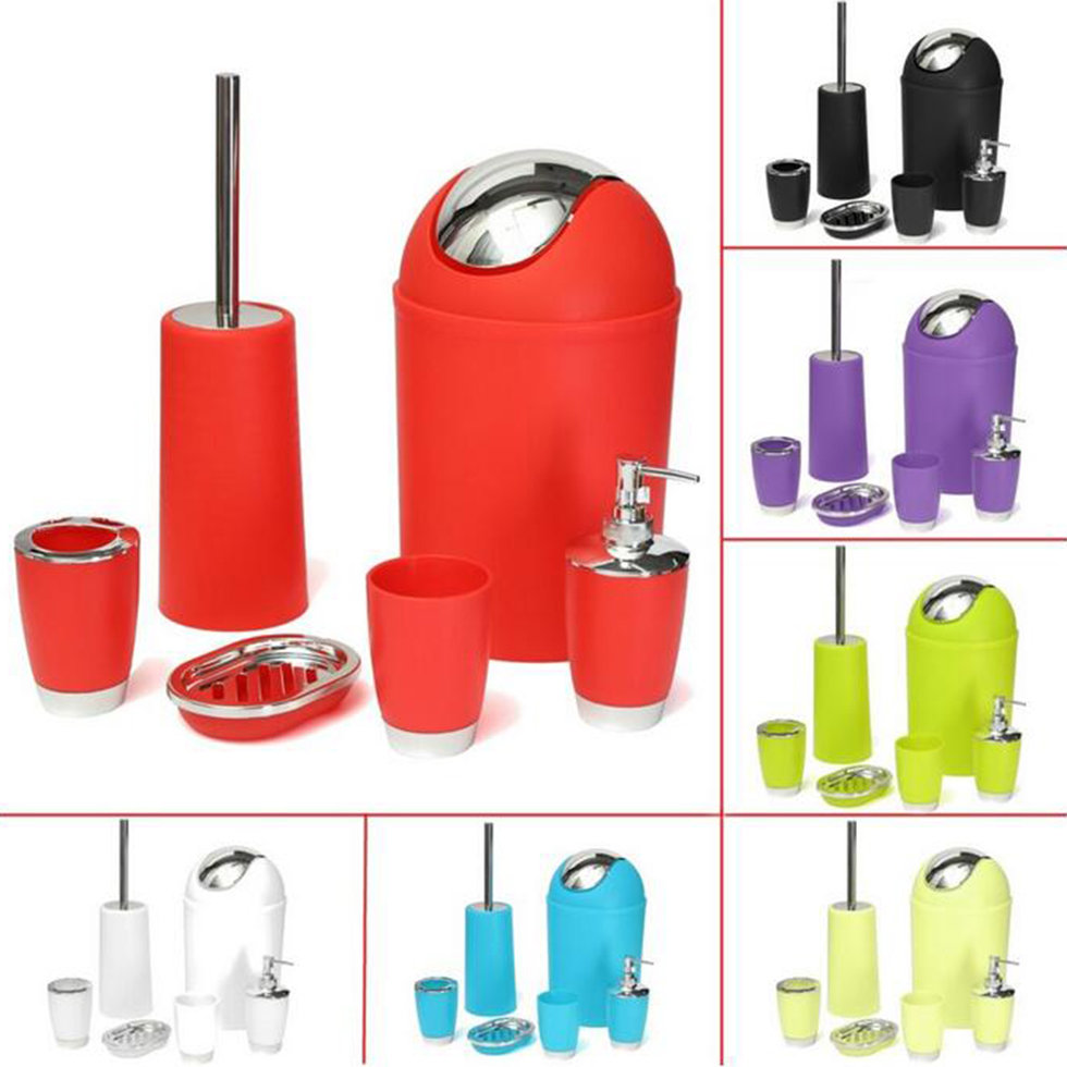6pcs bathroom accessory bin soap dish dispenser tumbler toothbrush holder set be ebay - Bathroom soap dish sets ...