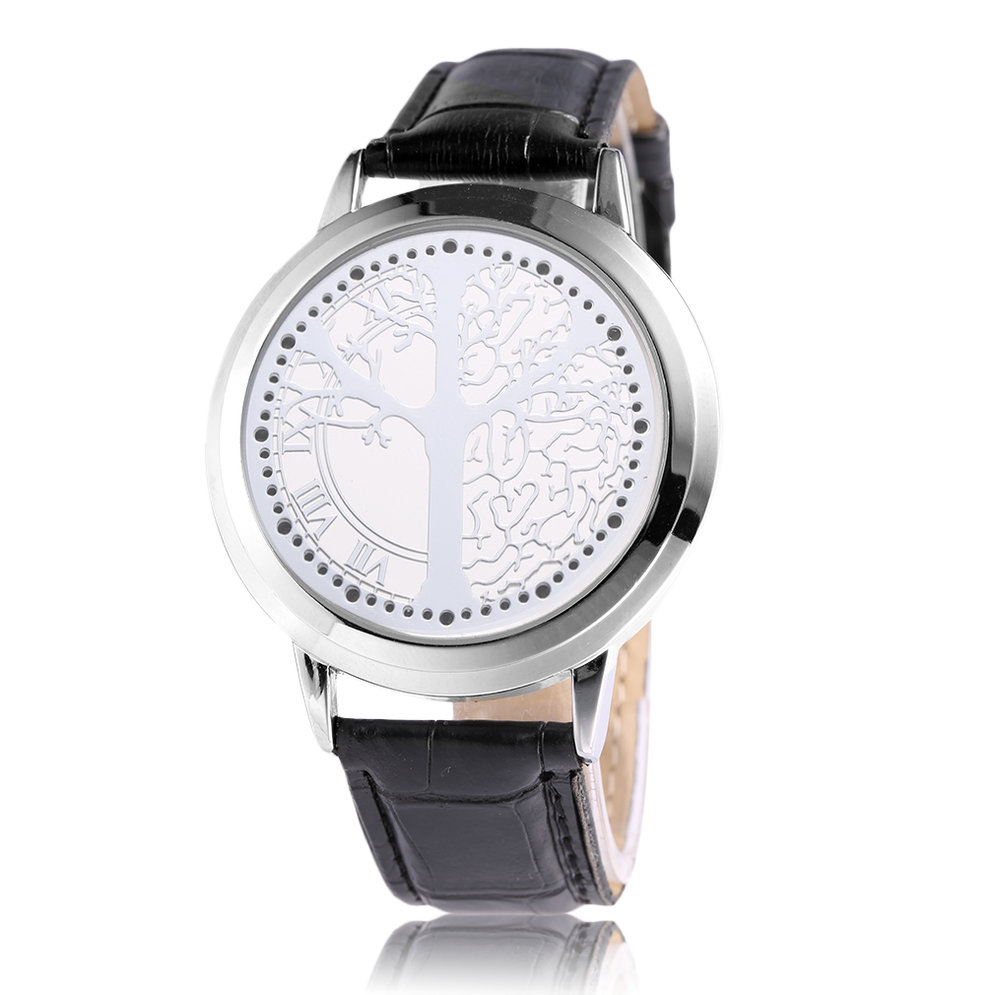 Led touch screen digital men women leather strap luminescence wrist watch gt ebay for Luminescence watches