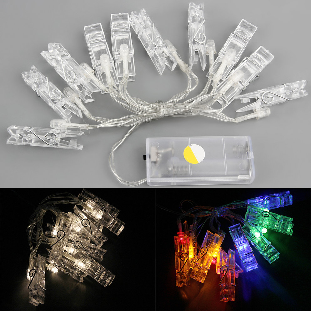 20 Light String Christmas Lights : 20 LED Card Photo Clip String Lights Battery Christmas Party Wedding light I6 eBay