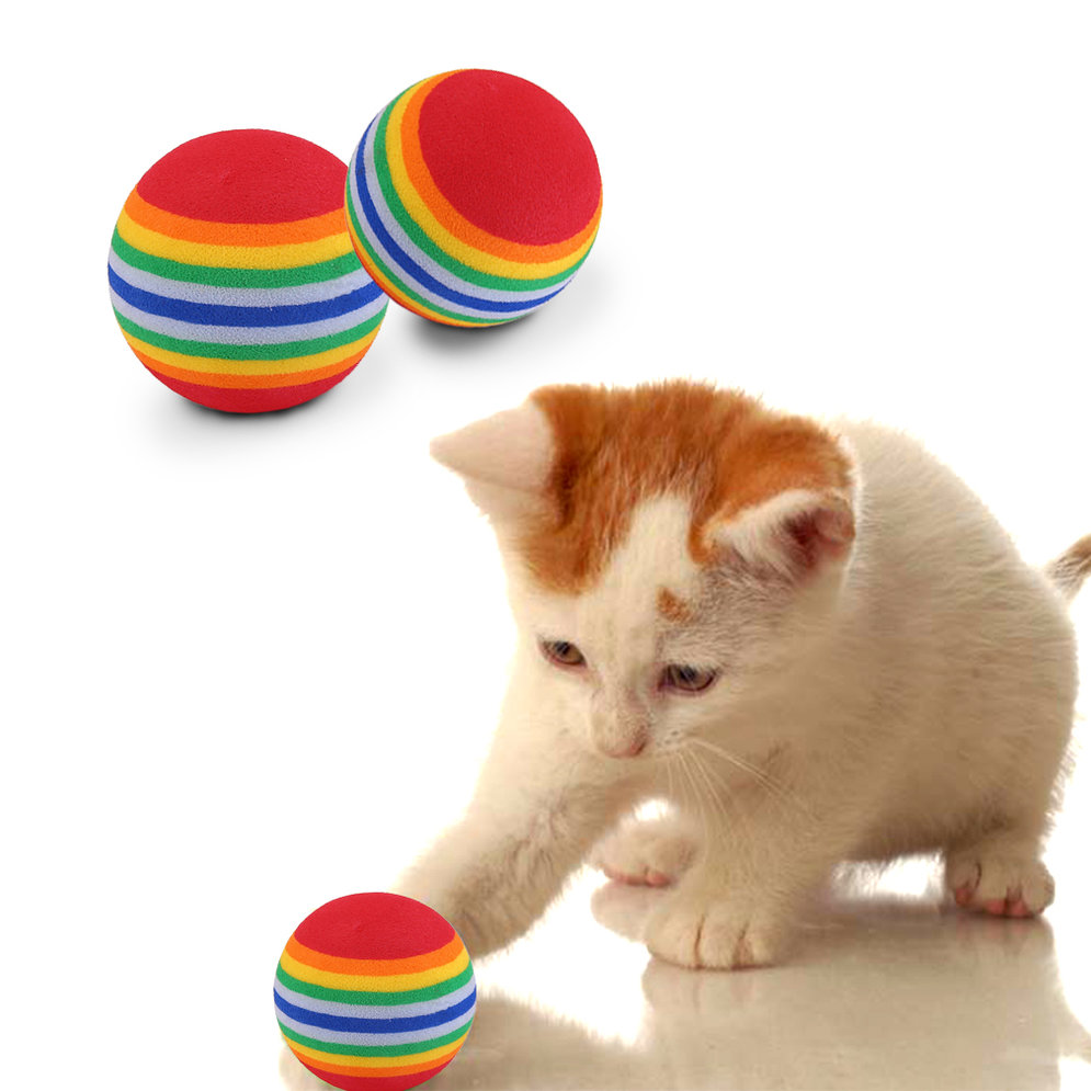 colorful ball toys soft foam rainbow pet toys small balls small dog toys uk