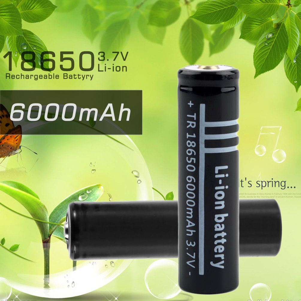 3 7v 6000mah 18650 li ion rechargeable battery for flashlight le