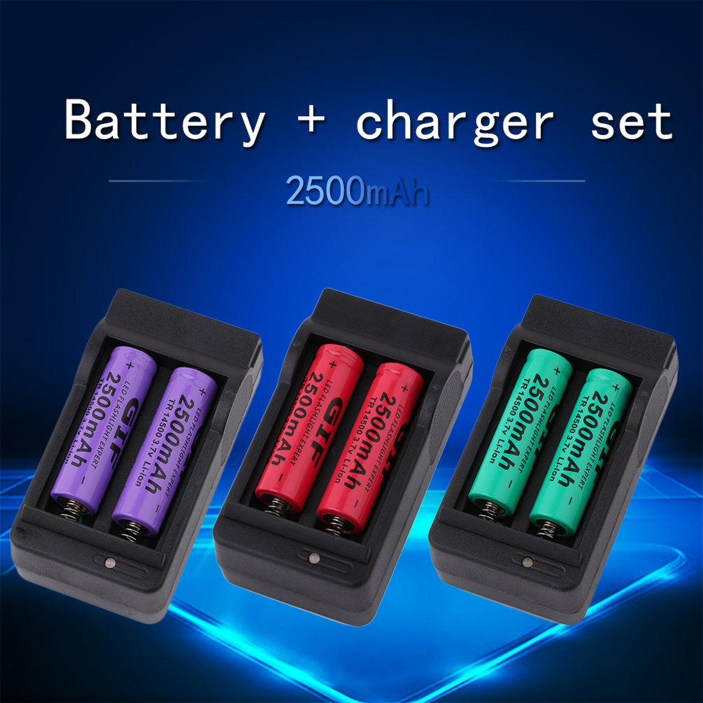 4x 2500mah tr14500 3 7v rechargeable li ion battery us dual charger dock le ebay
